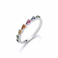 Silver Multicolour Gemstone Half Eternity Ring