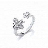 Silver CZ Bumble Bee & Flower Fancy Ring