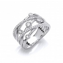 Silver CZ Multi Row Crossover Ring