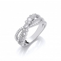 Silver CZ Crossover Fancy Ring