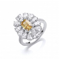 Silver CZ & Yellow Tourmaline Fancy Cluster Ring