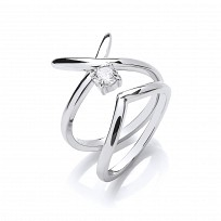 Silver CZ Kiss Ring Set