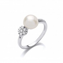 Silver CZ & Fresh Water Pearl Ladies Ring