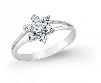 Silver & CZ Flower Kids Ring