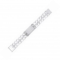 Silver Baby CZ Double Chaps Bracelet/Barked & Polished Links