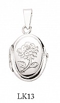 Silver Oval Rose Design Locket