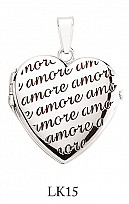 Silver 'Amore' Heart Locket
