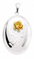 Silver Oval Locket With Gold Flower Detail