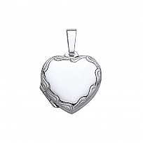 Silver Heart Engraved Locket