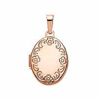 Rose Gold Plated Oval Flower Engraved Locket