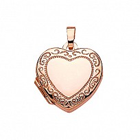 Rose Gold Plated Engraved Heart Pendant