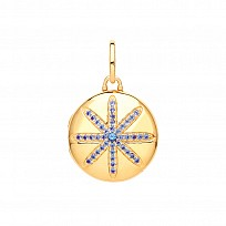 Gold Pl 18mm Locket With Sapphire Stone Set Flower Design