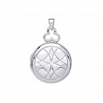 Silver Round Engraved Locket With Single CZ Stone