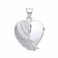 Silver Angel Wings Photo Locket