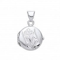 Silver Round Flower Design Photo Locket
