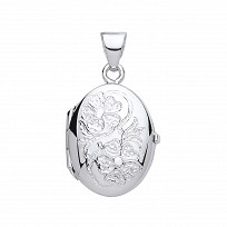 Silver Oval Flower Design Photon Locket