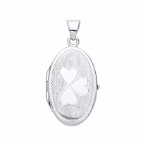 Silver Oval Heart Design Photo Locket