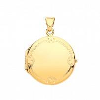 Gold Plated Round Engravable Photo Locket