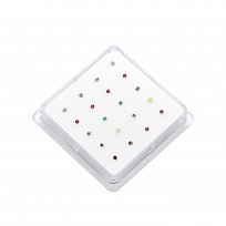 Nose Studs - Round Clawset In Assorted Colours x 20 pieces