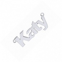 Silver Block Nameplate. 35 8.5mm. 0.7 thickness. Inc chain