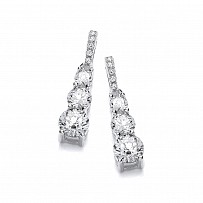 Silver Swarovski® Zirconia Trio Fancy Drop Earrings