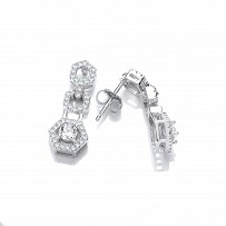 Silver Swarovski® Zirconia Diamond Dust Drop Earrings