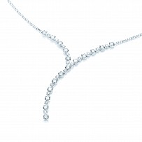Silver Swarovski Zirconia Y Shaped Drop Necklace