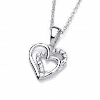 Silver Swarovski Intertwined Hearts Pendant & Necklace