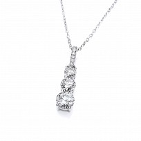 Silver Swarovski Trio Drop Pendant & Necklace