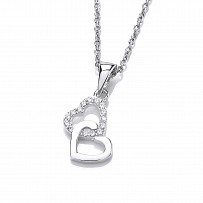 Silver Swarovski Zirconia Entwined Double Heart & Chain