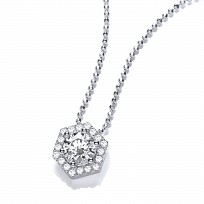 Silver Swarovski Zirconia Hexagon Shape Pendant & Chain