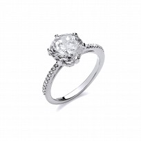 Silver Swarovski Claw Set Solitaire Ring