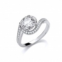 Silver Swarovski Twisted Fancy Solitaire Ring