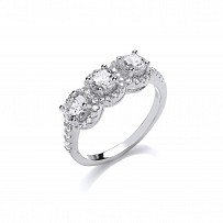Silver Swarovski® Zirconia Fancy Trilogy Solitaire Ring