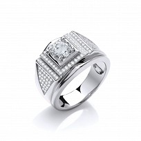 Silver Swarovski® Zirconia Pave Set Gents Ring